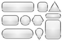 White glass buttons with chrome frame. Set of shiny 3d web icons Stock Photography