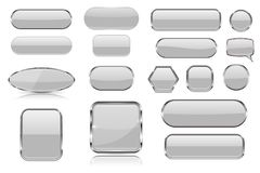 White glass buttons. Collection of 3d icons with and without chrome frame. Vector illustration isolated on white background royalty free illustration