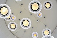 White Glass Ceiling Lights. Abstract architecture glass ceiling lights on white background Royalty Free Stock Photo