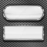 White glass 3d buttons on metal perforated background. Vector illustration Royalty Free Stock Photos