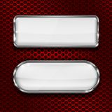 White glass 3d buttons on red metal perforated background. Vector illustration Stock Photos