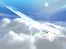 White glass plane. White plane in the skyes Royalty Free Stock Images