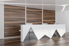 White and glass reception in wooden room royalty free stock photography