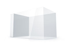 White glass rectangle box. Royalty Free Stock Images