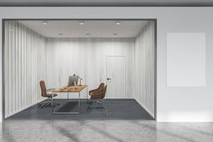 White and glass wall manager office Royalty Free Stock Photo
