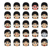 White Glasses Girl Emoticons Cartoon Vector Illustration. Cute girl face emoticons EPS10 file format Royalty Free Stock Photos