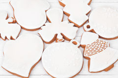 White glazed Christmas cookies Stock Image
