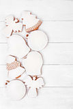 White glazed Christmas cookies on white background Stock Images
