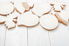 White glazed Christmas cookies Stock Photography