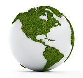 White globe with continents covered with grass Royalty Free Stock Photo