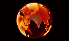 Fire red globe rotating on black background. Looping animation. stock video footage