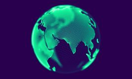 Green globe rotating on blue background. Looping animation. stock video footage