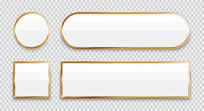 White glossy buttons with gold elements set isolated on transparent background. Vector vector illustration