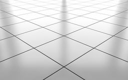 White glossy ceramic tile floor background. 3d rendering. White glossy ceramic tile floor pattern background. 3d rendering Stock Images