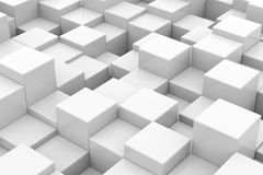 White glossy cubes of different height. Royalty Free Stock Images