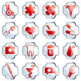 White glossy medical buttons. Set of 16 medical high gloss buttons with chrome rim. Graphics are grouped and in several layers for easy editing. The file can be Royalty Free Stock Image