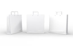 White glossy paper bag isolated on white with clipping path Royalty Free Stock Photo