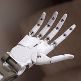 White Glossy Robot Hand Close Up 3d Illustration. Concept Stock Images