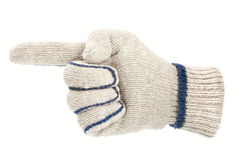 White glove pointing direction Royalty Free Stock Photography