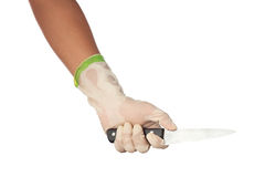 A white gloved hand holding a knife Stock Image