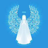 White glowing angel and halo. Praying angel with ornamental white wings and glowing nimbus on a blue background. Beautiful angel silhouette with ornamental royalty free illustration