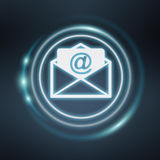 White and glowing blue email icon 3D rendering. White and glowing blue email icon on blue background 3D rendering Stock Photography