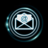 White and glowing blue email icon 3D rendering. White and glowing blue email icon on dark background 3D rendering Stock Photos