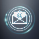 White and glowing blue email icon 3D rendering. White and glowing blue email icon on dark background 3D rendering Royalty Free Stock Photo