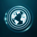 White and glowing blue internet icon 3D rendering. On blue background Royalty Free Stock Image
