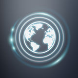 White and glowing blue internet icon 3D rendering. On dark background Stock Photo