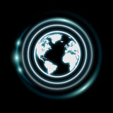 White and glowing blue internet icon 3D rendering. On dark background Royalty Free Stock Photos