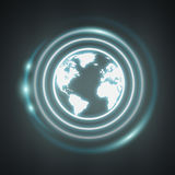 White and glowing blue internet icon 3D rendering. On dark background Royalty Free Stock Image