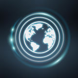 White and glowing blue internet icon 3D rendering. On blue background Royalty Free Stock Photo