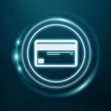 White and glowing blue shopping icon 3D rendering. On blue background Stock Images
