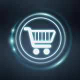 White and glowing blue shopping icon 3D rendering. On blue background Stock Photography