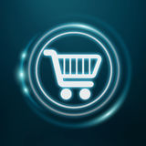 White and glowing blue shopping icon 3D rendering. On blue background Stock Photo