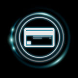White and glowing blue shopping icon 3D rendering. On dark background Royalty Free Stock Images