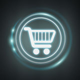 White and glowing blue shopping icon 3D rendering. On dark background Stock Image
