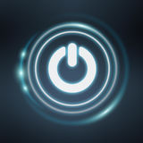 White and glowing blue switch power icon 3D rendering. On blue background Stock Image