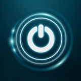 White and glowing blue switch power icon 3D rendering. On blue background Royalty Free Stock Photography