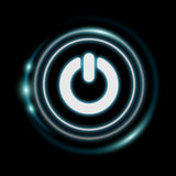 White and glowing blue switch power icon 3D rendering Stock Photography