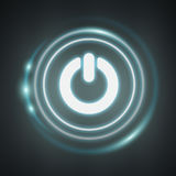 White and glowing blue switch power icon 3D rendering Royalty Free Stock Photo