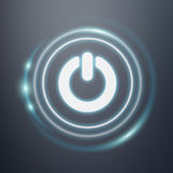 White and glowing blue switch power icon 3D rendering. On dark background Stock Image