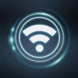 White and glowing blue wifi icon 3D rendering Royalty Free Stock Images