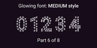 White Glowing font in the Outline style. Vector Alphabet with Connections, Lines, Polygonal structure and Glowing knots. Medium style, part 6 with numbers 0 1 vector illustration