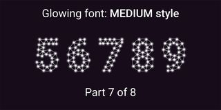 White Glowing font in the Outline style. Vector Alphabet with Connections, Lines, Polygonal structure and Glowing knots. Medium style, part 7 with numbers 5 6 vector illustration
