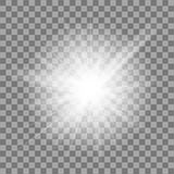 White Glowing Light Burst Explosion On Transparent Background. Bright Star Flare Explode Stock Photo