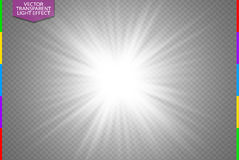 White glowing light burst explosion on transparent background. Vector illustration. Transparency in additional format only. Light effect decoration with ray royalty free illustration