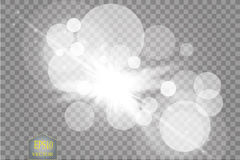 White glowing light burst explosion with transparent. Vector illustration for cool effect decoration with ray sparkles stock illustration
