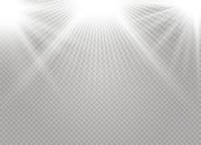 White glowing light. Explodes on a transparent background. Sparkling magical dust particles. Bright Star. Transparent shining sun, bright flash. Vector sparkles stock illustration
